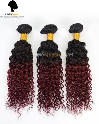 ombre weave ombre style indian 1b burgundy jerry curl 3pcs hair weave
