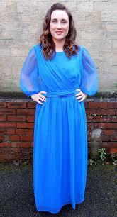 vintage cobalt blue evening dress 1970s dress 1970s dresses