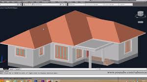 slanted roof house autocad 3d house part6 sloped roof autocad sloped roof 3d