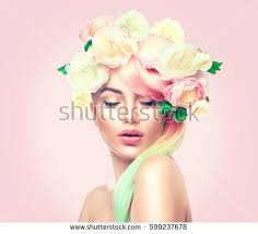 flower hair hairstyle stock images royalty free images vectors
