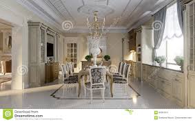 luxurious baroque kitchen and dining room stock illustration