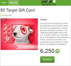half price gift cards target 5 gift cards half today with cricket rewards 6 250