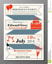 Invitation Cards Birthday Party Vintage Birthday Party Invitation Card Stock Vector Image 51060839