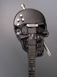 custom made skull baritone electric guitar by guitars