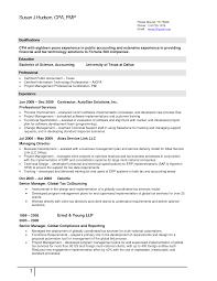Pmp Sample Resume by Cpa Resume Resume Cv Cover Letter