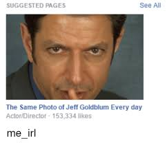 Jeff Goldblum Meme - see all suggested pages the same photo of jeff goldblum every day