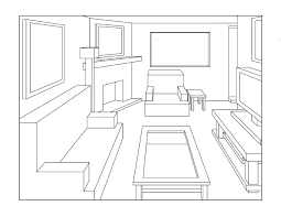 one point perspective drawing living room a black and white