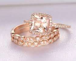 engagement ring payment plan 3pcs 8mm princess cut morganite wedding ring set engagement ring