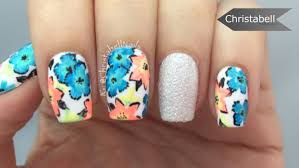 tropical flower nail art tutorial youtube