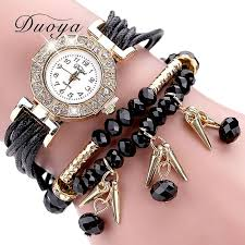 crystal bracelet watches images Duoya brand watches women black luxury crystal bracelet watch jpg