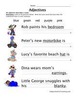 adjective worksheets grade 1 adjective worksheets teaching