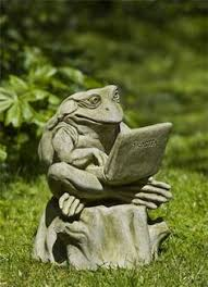 frog statue concrete relaxing frog figure cement garden decor on