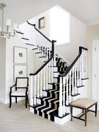 Black And White Striped Runner Rug Staircase Design Ideas Wood Stairs White Stairs And Woods