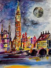 London Clock Tower by Westminster In London Big Ben Clock Tower Original Watercolor And Ink