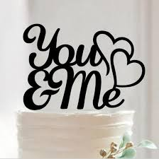 romantic wedding cake topper decoration double heart to heart
