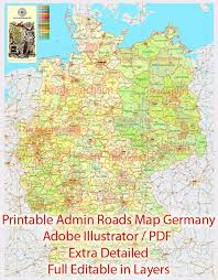 map of germany cities detailed map germany administrative divisions adobe illustrator
