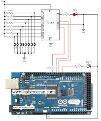 circuit to demonstrate the working of 74165 using arduino mega and
