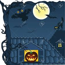 cat halloween background night town roofs cat owl and bats halloween background royalty