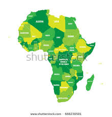 map of africa with country names political map africa four shades green stock vector 666230581