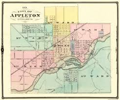 Wisconsin State Map by Old City Map Appleton Wisconsin 1878