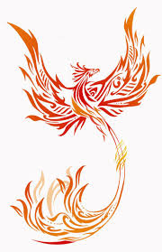 red and yellow tribal phoenix tattoo design