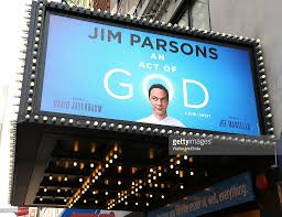 theatre marquee unveiling for u0027an act of god u0027 starring jim parsons