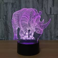 Touch Lights For Bedroom Novelty 3d Animal Rhinoceros Light Led Illusion L Usb 7