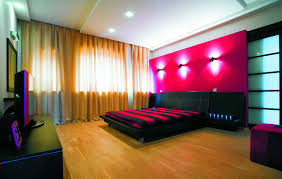 combine of red black and beige color for elegant bedroom interior
