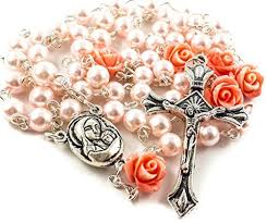 cross necklace pink images Pink pearl beads rosary necklace 6pcs our rose cross nazareth jpg