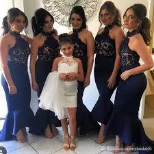 wedding dresses for of honor 2017 halter lace appliques top mermaid black bridesmaid