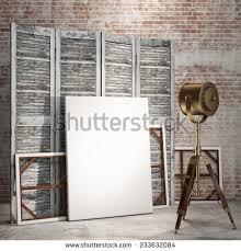 mock posters on room divider screen stock illustration 233632084