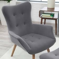Grey Accent Chair Modern Classic Mid Century Style Gray Accent Chair And Ottoman