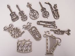 instruments wood ornaments 11 pieces laser cut unfinished