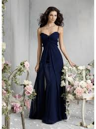 line spaghetti straps sweetheart navy blue long chiffon bridesmaid