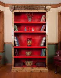 Red Ladder Bookcase by Furniture Wooden Razorback Red Distressed Bookcase