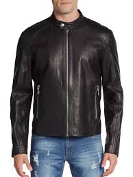 mens leather moto jacket versace jeans perforated leather moto jacket in brown for men lyst