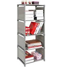 5 shelf desk organizer mygift freestanding grey plastic fabric 5 shelf bookcase storage