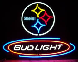bud light lighted sign bud light nfl pittsburgh steelers neon beer bar sign