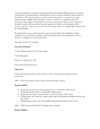 Sample Resume Objectives For Trainers by Personal Trainer Resume Objective Free Resume Example And
