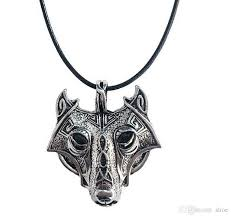 wolf necklace images Wholesale 42 5cm vintage norse vikings wolf necklace faux leather jpg