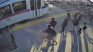 Blind Man Rides Bike Blind Man Saved By Samaritan Who Stops Waliking Train Youtube