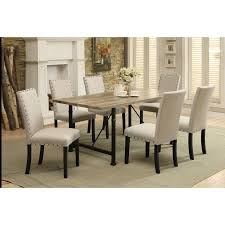 acme furniture old lake 7 piece rectangular dining table set