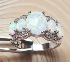white fire rings images Amazing oval white fire opal engagement rings in engagement rings jpg