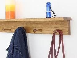 solid oak wall mounted coat racks optional top shelf made in the usa