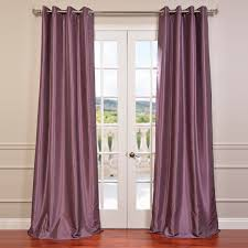 Plum Faux Silk Curtains Smokey Plum Grommet Blackout Vintage Textured Curtains