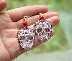 decoupage earrings earrings my sugar skulls