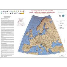 magnetic declination map map of magnetic declination in europe 2006 ccgm cgmw