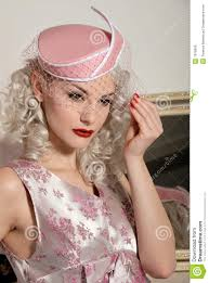 cute retro in fifties dress u0026 hat royalty free stock image