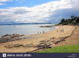 aberdour black sands beach fife scotland uk stock photo