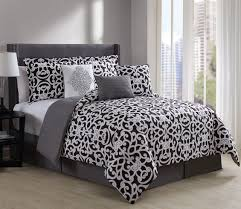 White Bed Set King 7 Piece Fara Black White Comforter Set